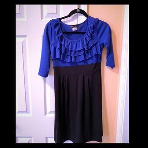 Navy blue and black ruffle swing dress